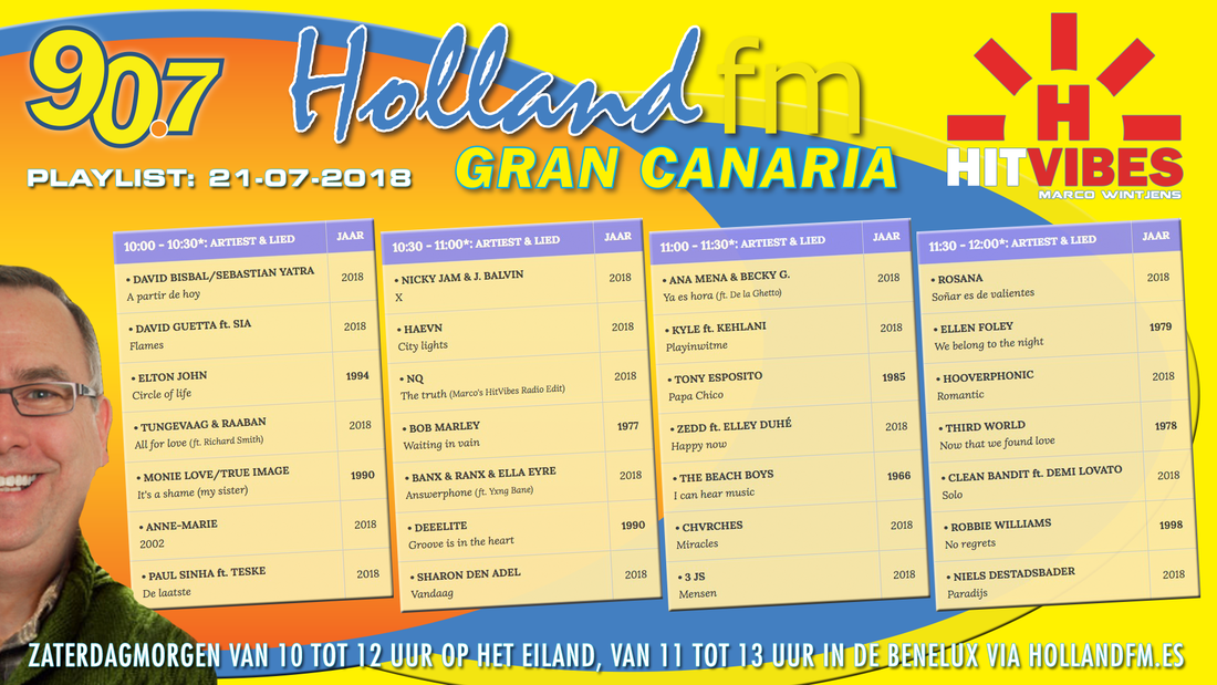 Playlist HitVibes Gran Canaria, Marco Wintjens, 21-07-2018