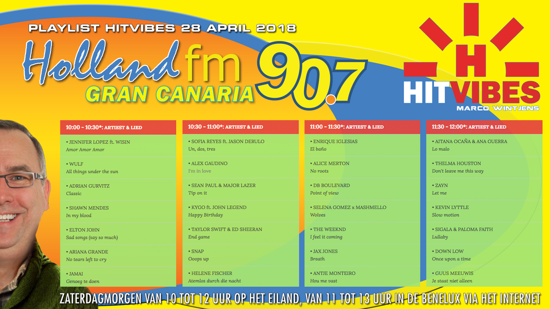 Playlist HitVibes Gran Canaria 28-04-2018