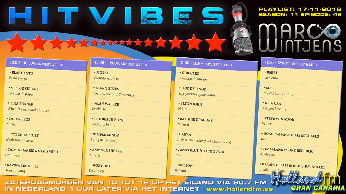 Playlist HitVibes Gran Canaria 17-11-2018
