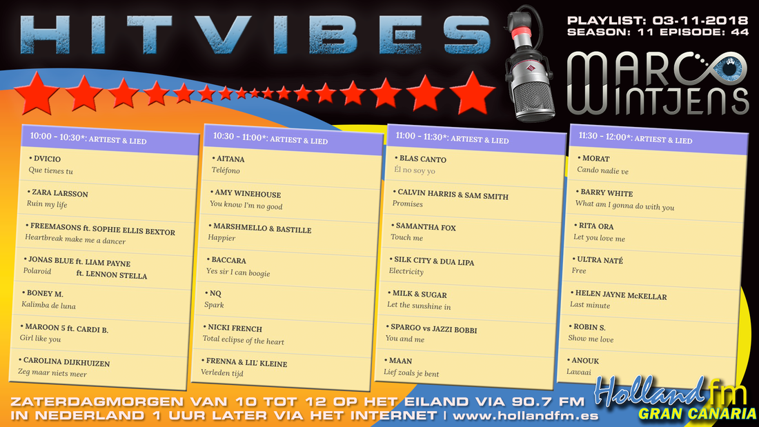 Playlist HitVibes Gran Canaria 03-11-2018