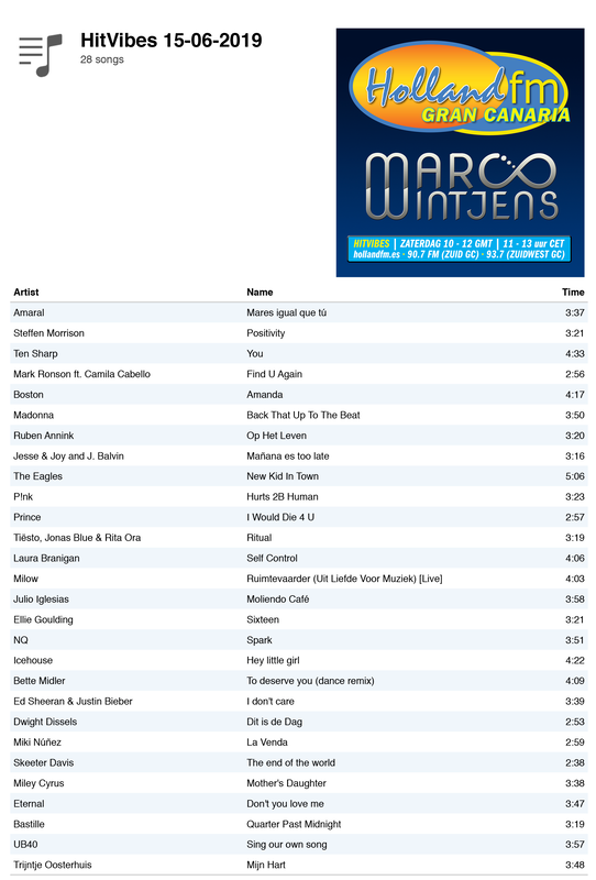 Playlist HitVibes Gran Canaria, zaterdag 15-06-2019, Holland FM met Marco Wintjens