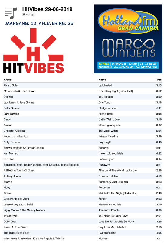 Playlist HitVibes Gran Canaria, 29-06-2019