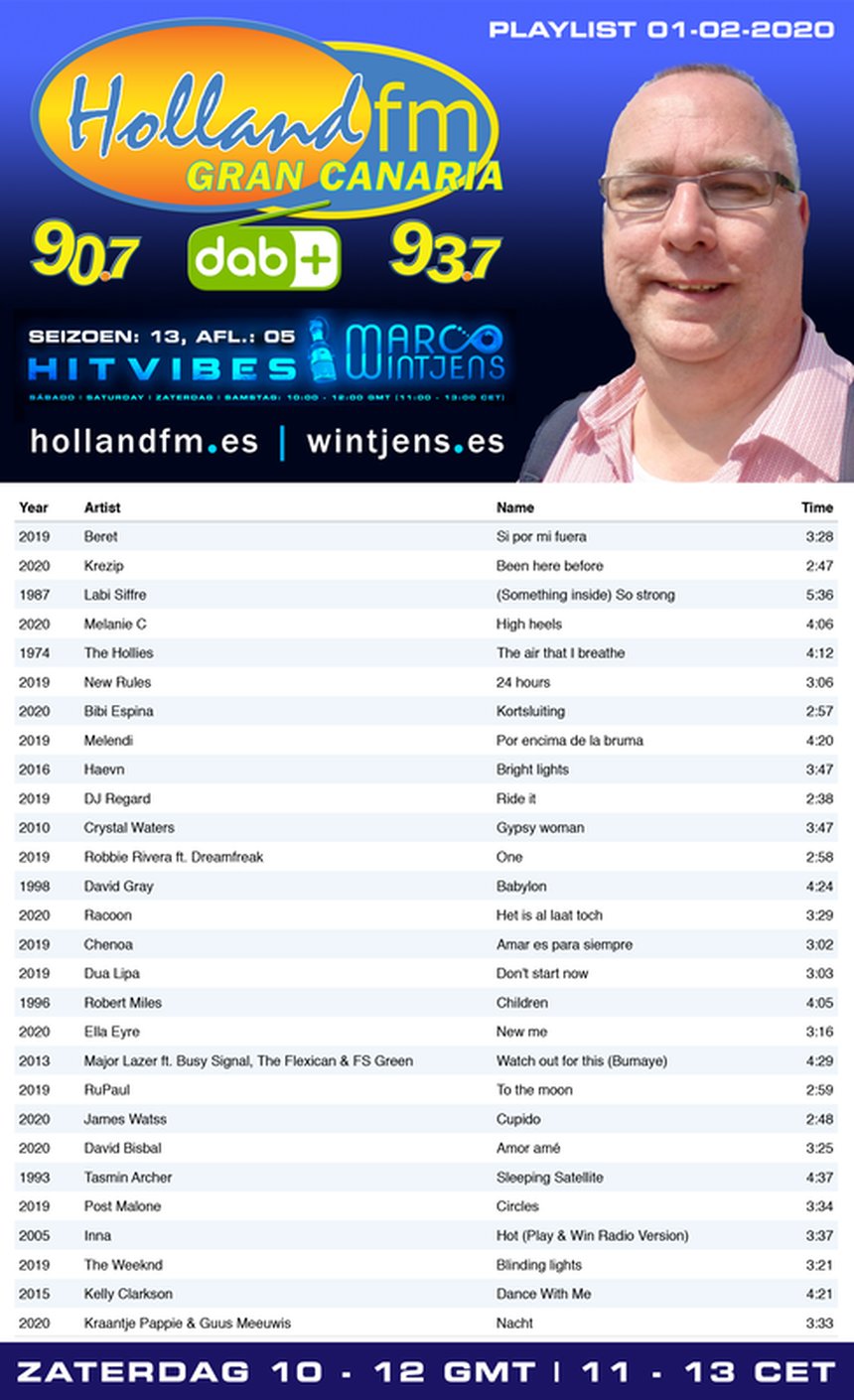 Playlist HitVibes, Marco Wintjens, Holland FM, 01-02-2020