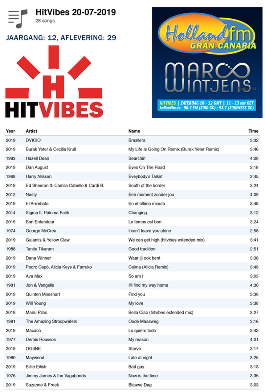 Playlist HitVibes Gran Canaria, zaterdag, 20-07-2019, Marco Wintjens, Holland FM