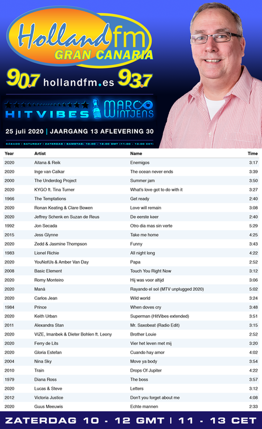 Playlist, HitVibes, Gran Canaria, Marco Wintjens, Holland FM